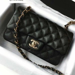 Chanel Black Caviar Mini Rectangular Flap Bag